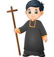 cartoon little boy altar server in uniform holding vector image vector image
