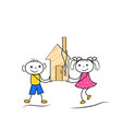 cartoon stickman figures of boy and girl buying vector image vector image