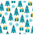 christmas seamless pattern with christmas trees vector image vector image
