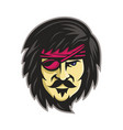 corsair with eye patch mascot vector image