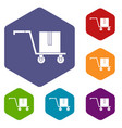 delivery cart with box icons set hexagon vector image vector image