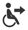 disability man pictograph flat icon exit isolated vector image vector image