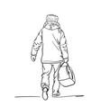 drawing mature man carrying duffel bag vector image vector image