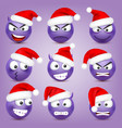 emoticon set violet face with emotions and vector image vector image