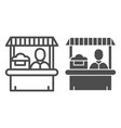 farmer market line and glyph icon seller vector image