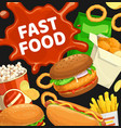 fast food burgers and combo snacks poster vector image vector image