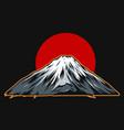 fujiyama mountain on red sun background vector image
