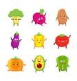 Funny vegetables characters cartoon set vector image