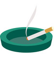 green ceramic ashtray with cigarette vector image vector image