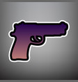 gun sign violet gradient vector image