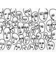 hand-drawn abstract faces black lines form vector image vector image
