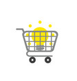 icon concept of light bulb inside shopping cart vector image vector image