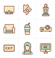 Icons Style cinema and movie icons set vector image vector image