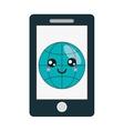kawaii cellphone icon vector image vector image
