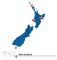 Map of New Zealand with flag vector image vector image