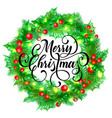 merry christmas greeting card holy and fir vector image vector image