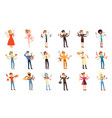 multitasking people set with many hands workers vector image