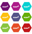 passenger airplane icons set 9 vector image