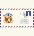 postal envelope on a merry christmas theme vector image vector image