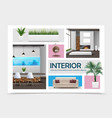 realistic home interior elements collection vector image