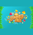 sammer sale horizontal banner with text vector image