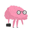 smart brain wearing glasses and with suitcase vector image vector image