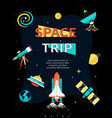 space trip - colorful flat design style web banner vector image vector image