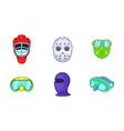 sport mask icon set cartoon style vector image vector image