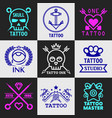 tattoo salon or studio icons vector image vector image