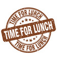 time for lunch brown grunge round vintage rubber vector image vector image