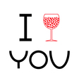 Wine glass with hearts inside I love you card Flat vector image vector image
