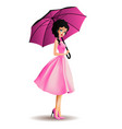 young women with umbrella vector image