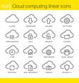 Cloud computing linear icons set vector image