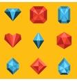 Flat icon set Diamond vector image