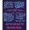 Set of numbers written by a brush with brush vector image