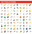 100 tools icons set isometric 3d style vector image vector image