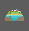3d landscape model with deep water infront vector image vector image