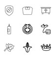 9 healthy icons vector image vector image