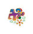 abstract dog sniffed the flower pet logo vector image vector image
