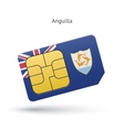 Anguilla mobile phone sim card with flag vector image vector image