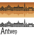 Antwerp skyline in orange vector image vector image