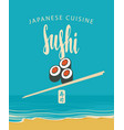 banner with sushi chopsticks and sea coast vector image