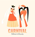 carnival banner with funny character in costumes vector image