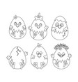 chicken easter outline vector image vector image