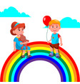 child girl and boy sitting on the rainbow vector image