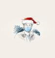 christmas at coronavirus man in face mask and vector image vector image