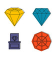 diamond icon set color outline style vector image