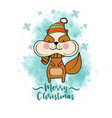 doodle christmas card with dressed squirrel vector image vector image