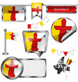 glossy icons with flag of province nunavut vector image vector image