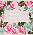 greeting card with roses and succulent vector image vector image